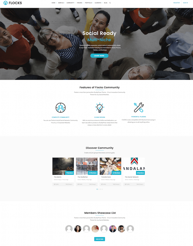 Flocks Community WordPress Theme
