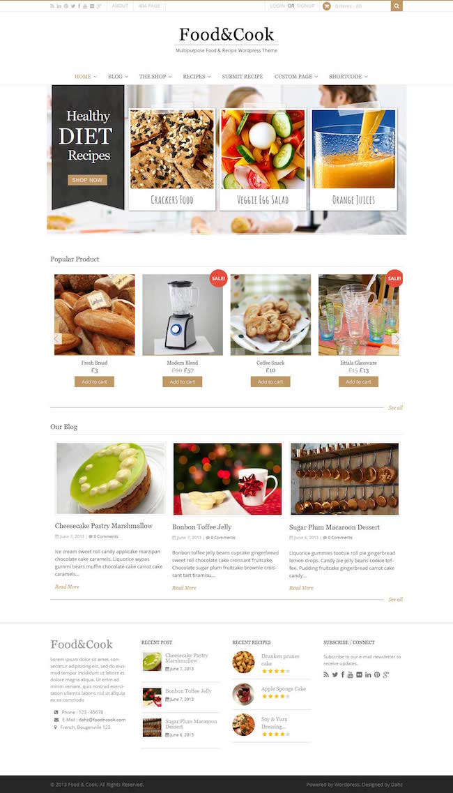Food & Cook Food Recipe WP Theme