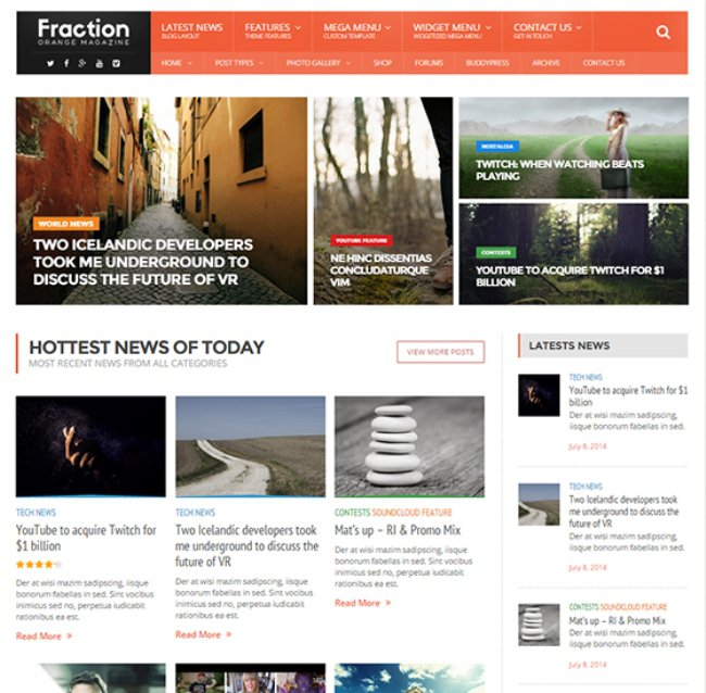 Fraction WordPress theme