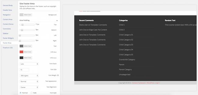 Genesis Design Palette Pro Footer Settings