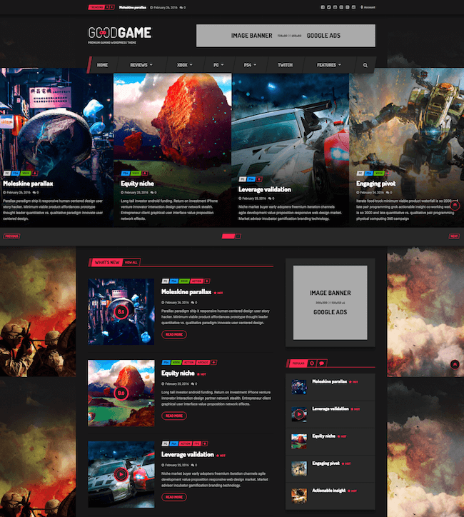 GoodGame Community WordPress theme