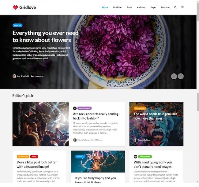 best pinterest-style WordPress theme: GridLove