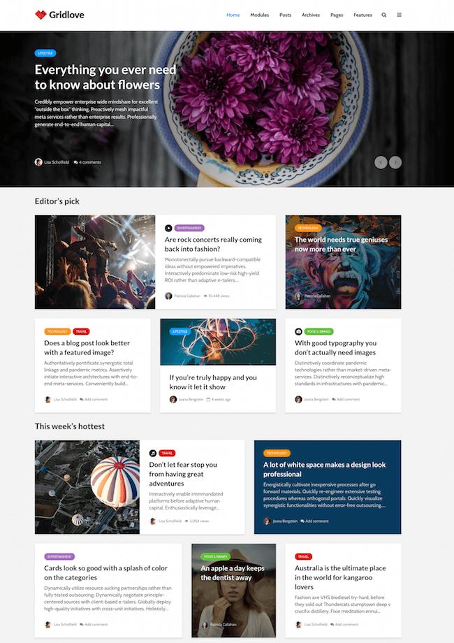 Gridlove Magazine WordPress Theme
