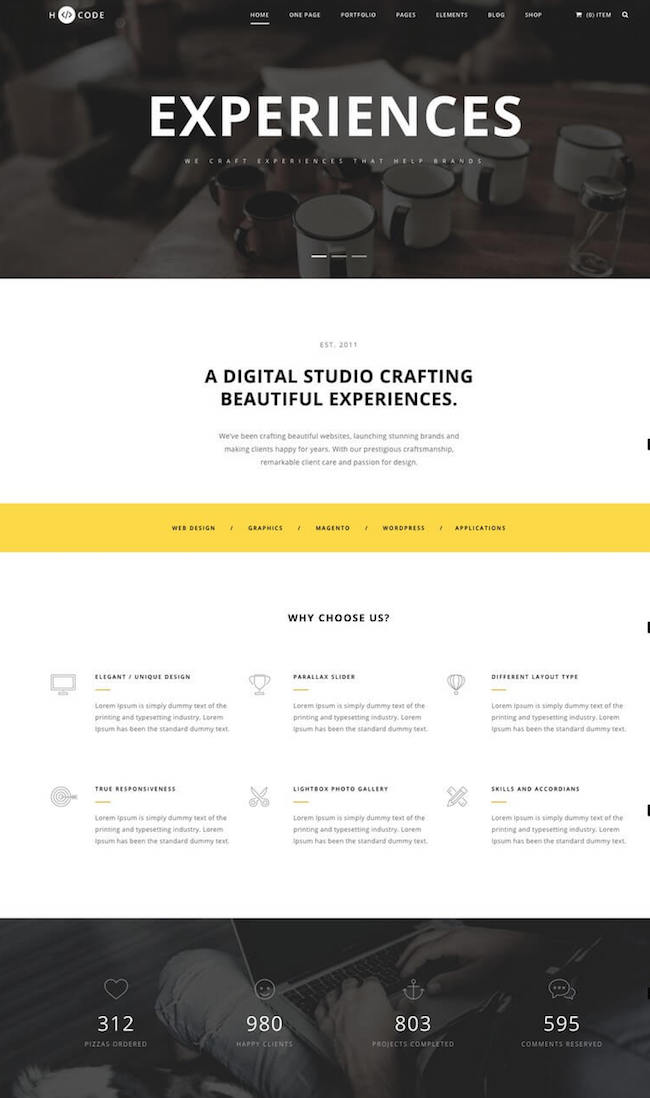 the one page WordPress theme H-Code