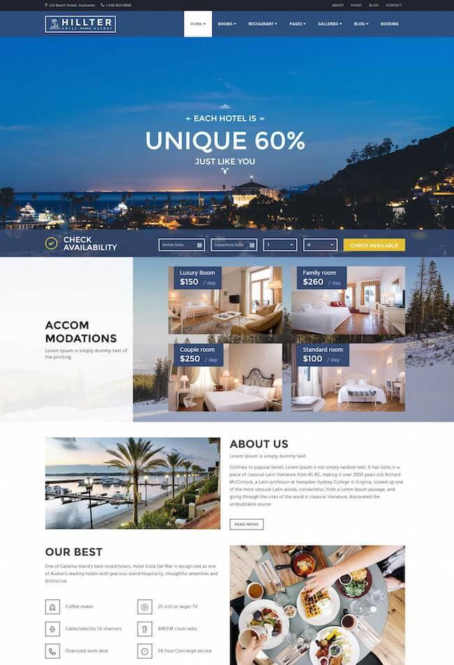 Hillter Hotel WordPress Theme