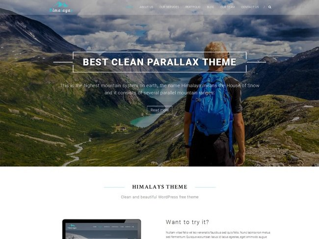 Free parallax Theme Himalayas features landscape hero image