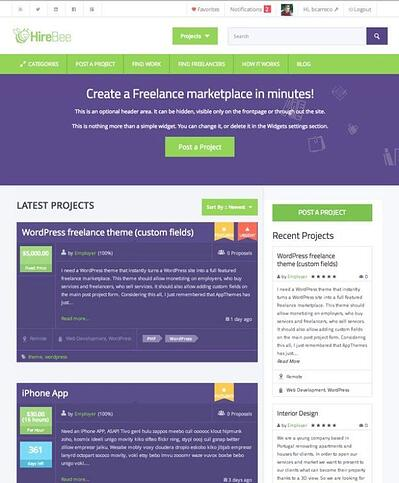 Hirebee WordPress Marketplace theme homepage featuring the tagline, computer screen, and example of the the theme layout
