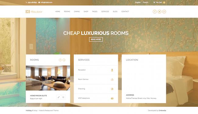 Holiday Hotel WordPress Theme