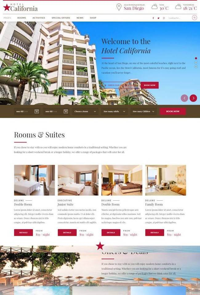 Hotel California Wordpress theme