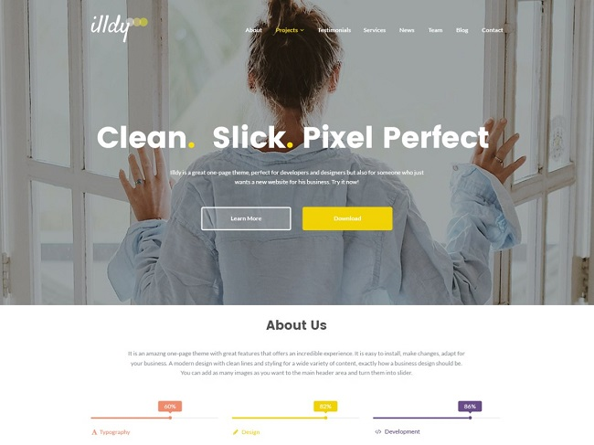 free parallax theme Illdy featured parallax hero image and CTA buttons