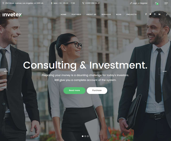invetex wordpress business consulting theme