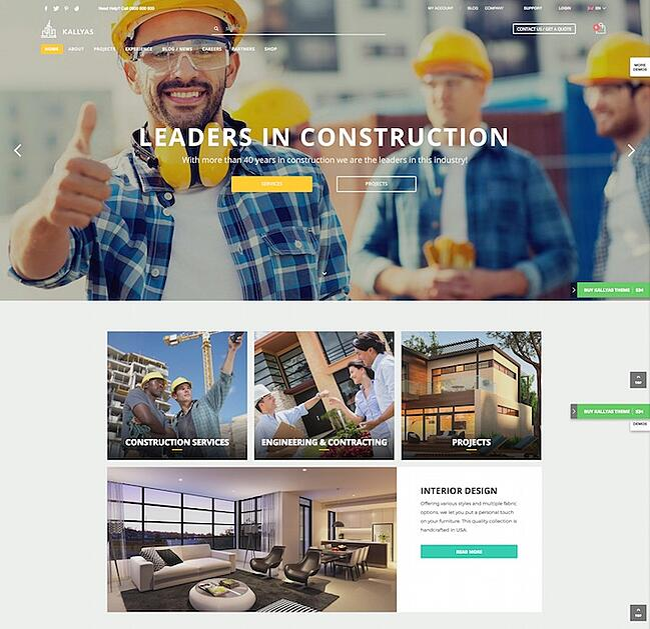 Kallyas Construction demo site for WordPress