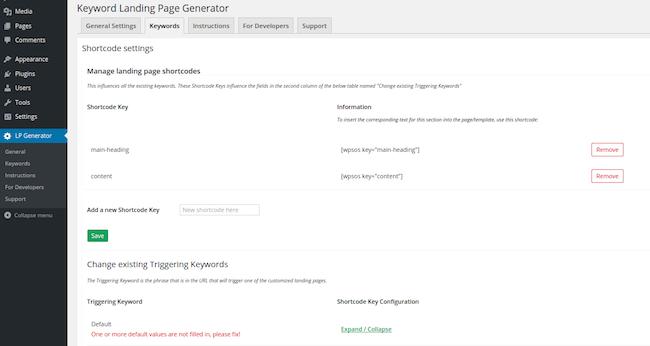 Keyword Landing Page wordpress plugin