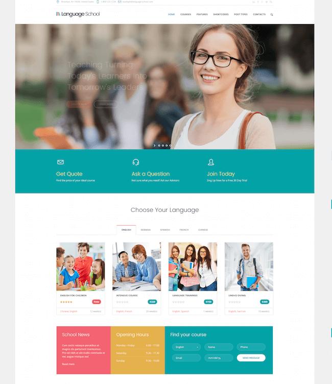 Language School WordPress Theme
