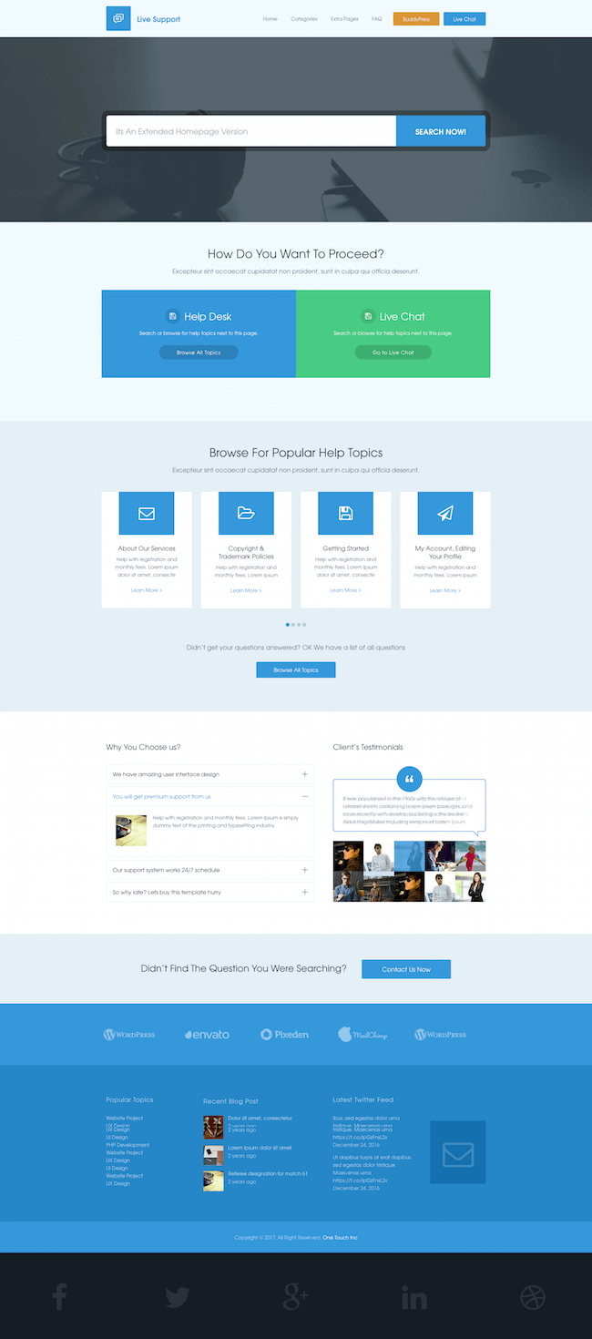 Live Support WordPress Theme