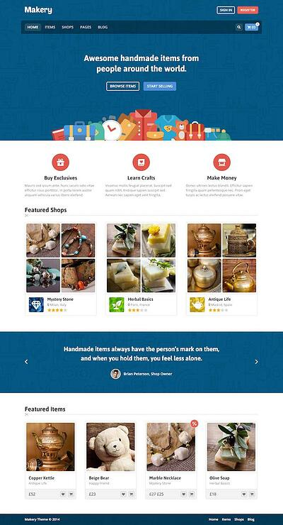Makery WordPress Marketplace theme homepage featuring the tagline, computer screen, and example of the the theme layout