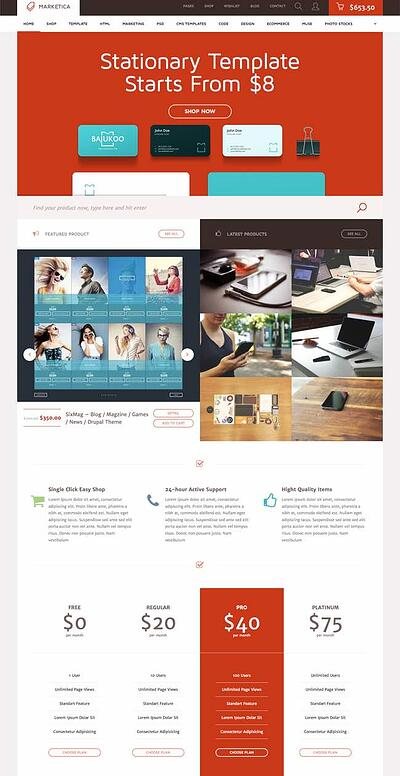 Marketica WordPress Marketplace theme homepage featuring the tagline, computer screen, and example of the the theme layout