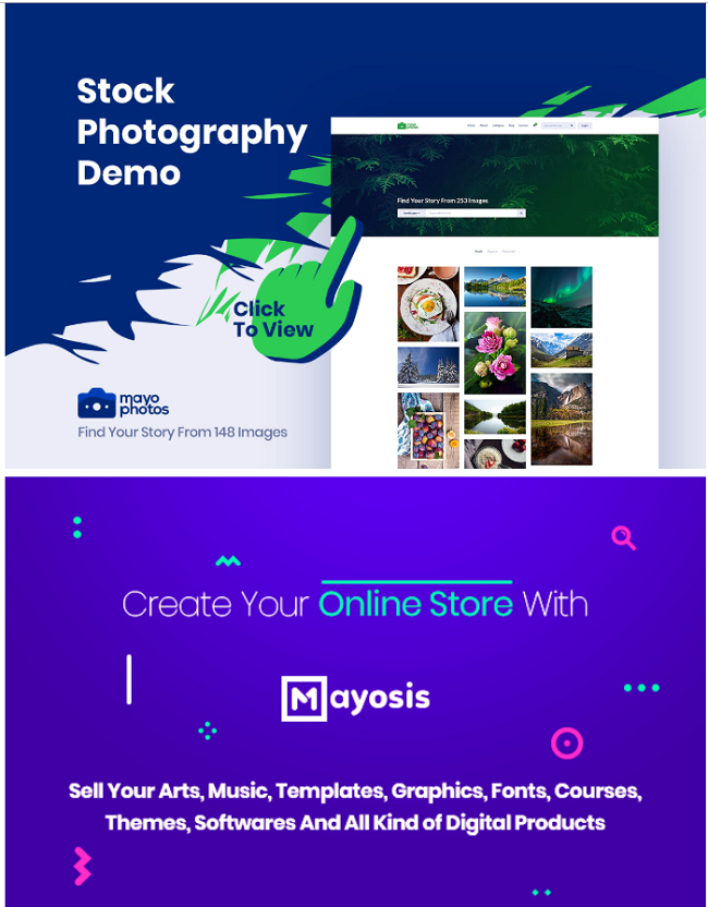 Mayosis WordPress Marketplace theme homepage featuring the tagline, computer screen, and example of the the theme layout