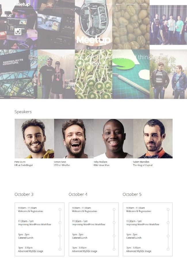 Meetup Event WordPress theme