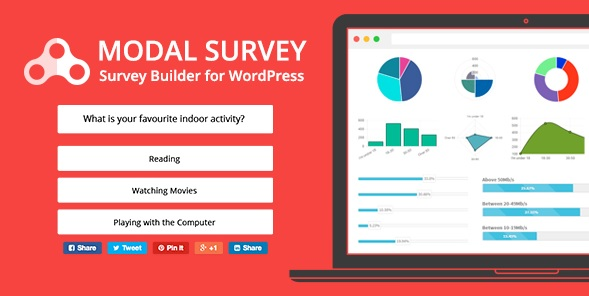 Modal Survey WordPress Plugin banner and example