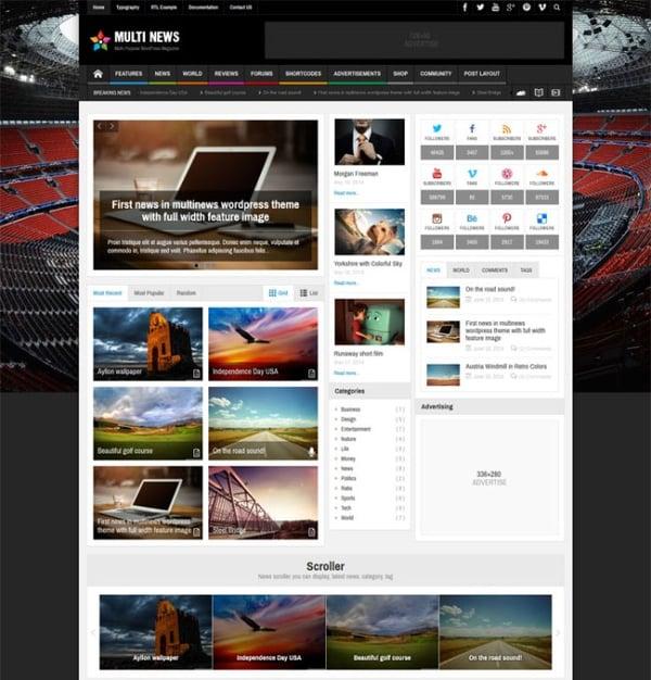 Multinews Theme for BuddyPress community websites on WordPress
