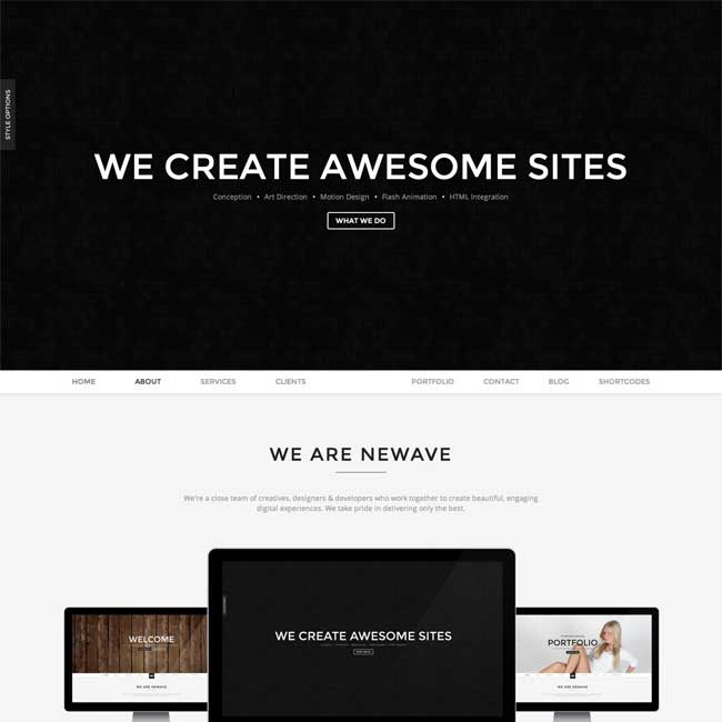 Newave one page WordPress theme