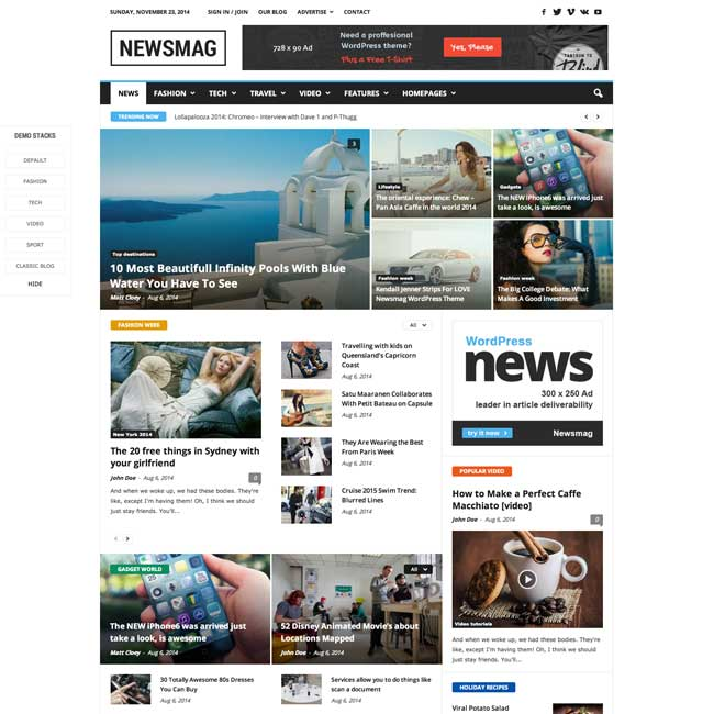 Newsmag seo friendly WordPress theme