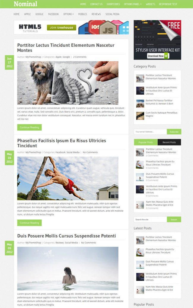 Nominal WordPress Theme