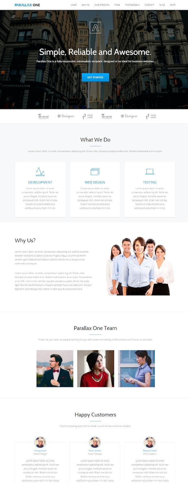 Parallax One Free Bootstrap Theme