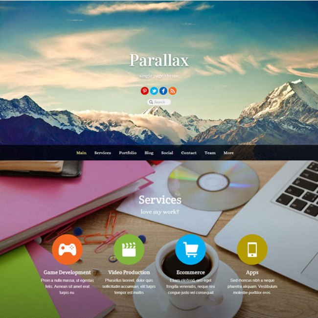 Parallax one page theme
