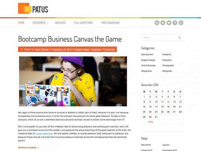 Patus - Free Personal Blogging WordPress Theme