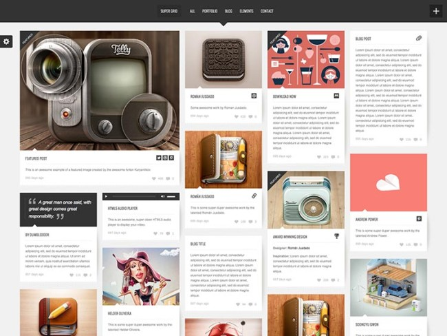 Pinterest style WordPress theme
