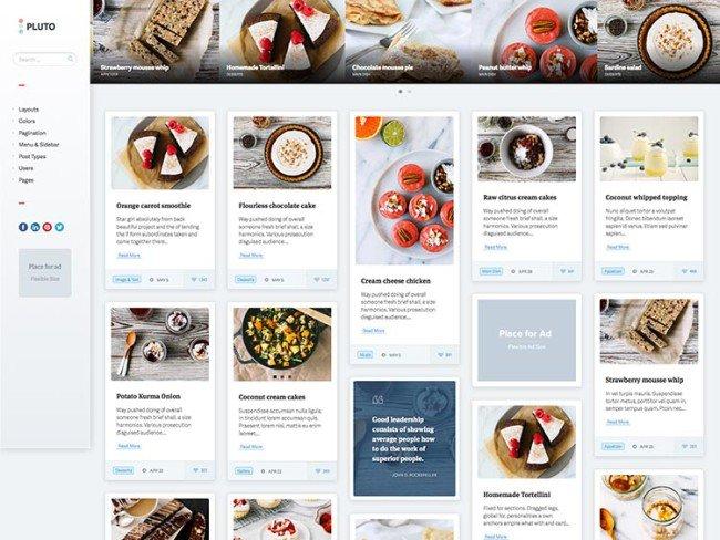 Pluto Pinterest-style WordPress theme