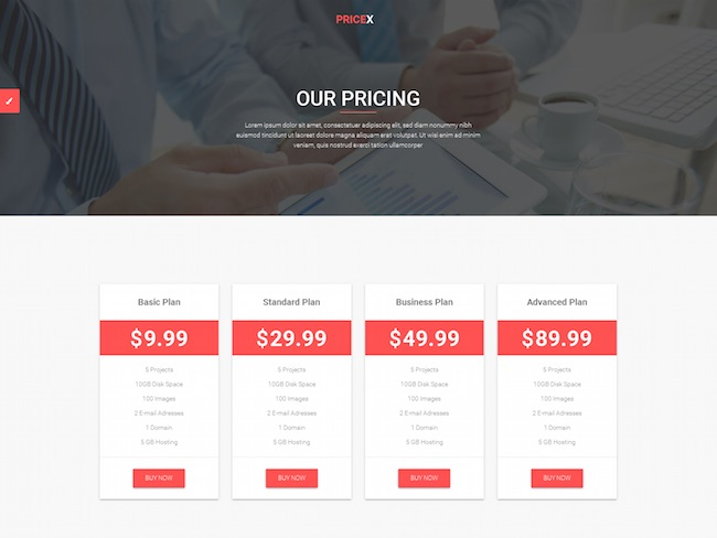 PriceX pricing table