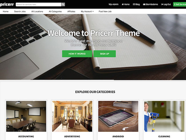 Pricerr WordPress Marketplace theme homepage featuring the tagline, computer screen, and example of the the theme layout
