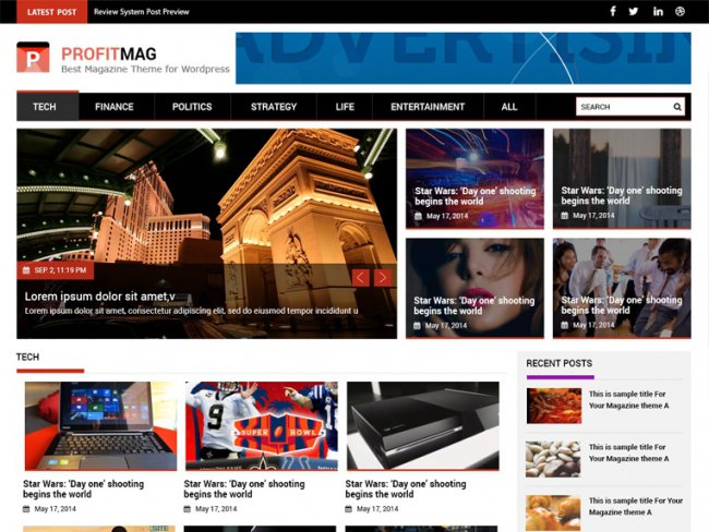 ProfitMag Free Magazine WordPress Theme