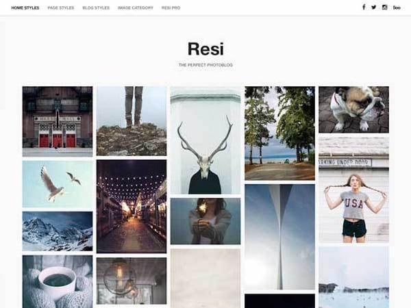 Resi WordPress Theme displays minimalist masonry grid of images