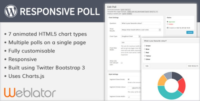 Responsive Poll Plugin banner detailing the product's features