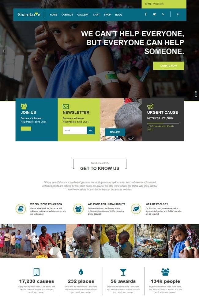 ShareLove Charity Non-Profit WordPress Theme