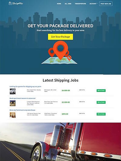 Shipme WordPress Marketplace theme homepage featuring the tagline, computer screen, and example of the the theme layout