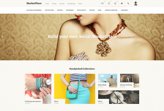 Social MarketPlace WordPress Marketplace theme homepage featuring the tagline, computer screen, and example of the the theme layout