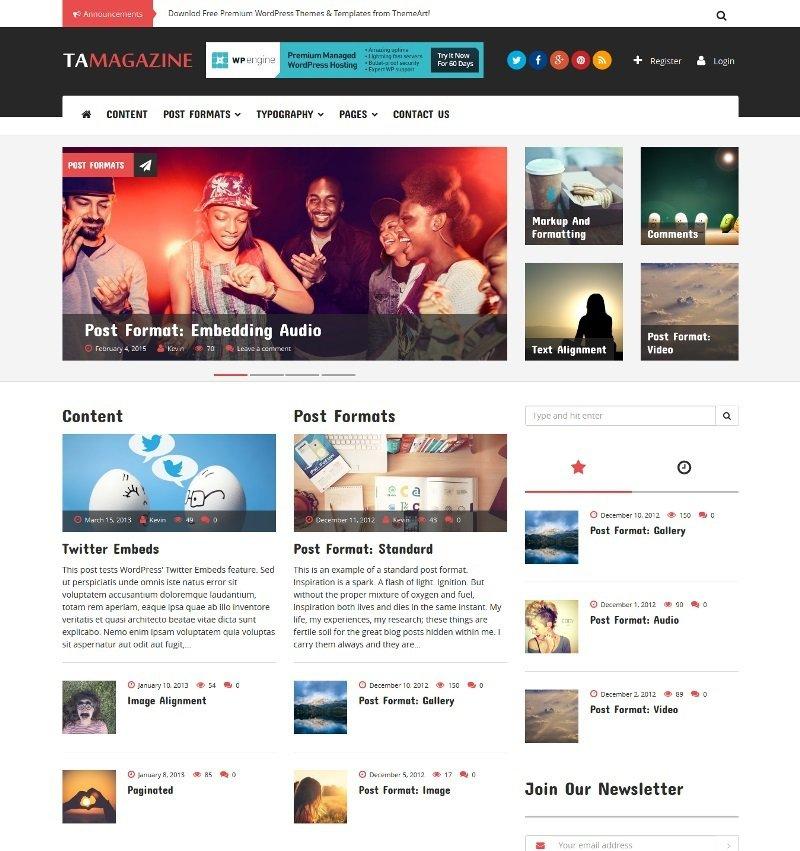 TA Magazine Free Bootstrap based WordPress Theme