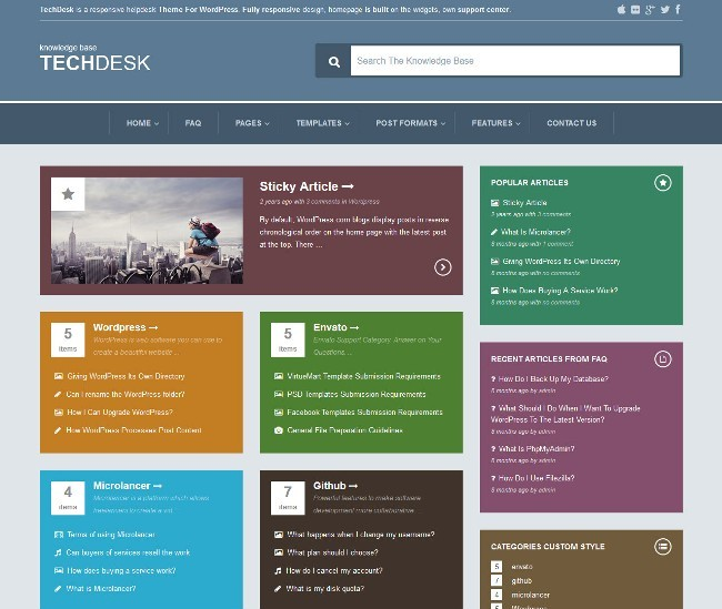Colorful Knowledge Base site created with the Techdesk theme for WordPress