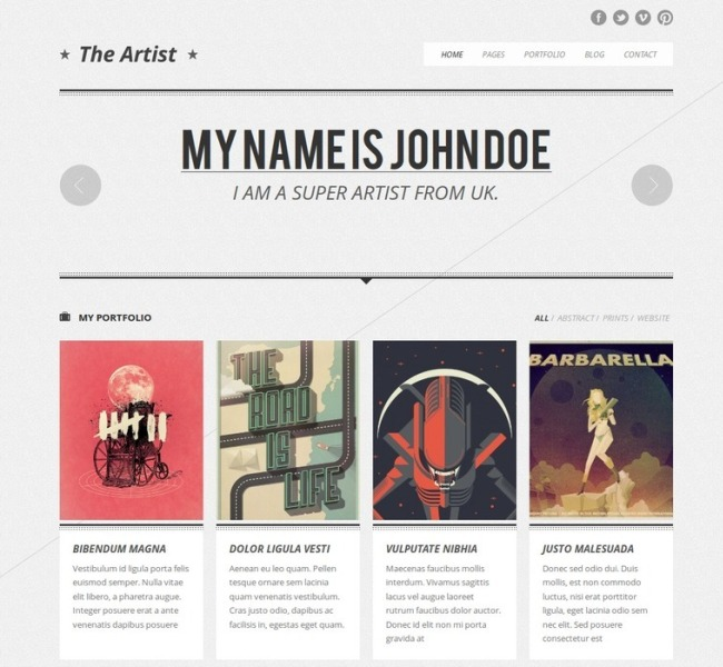 The Artist Clean Responsive Portfolio Theme