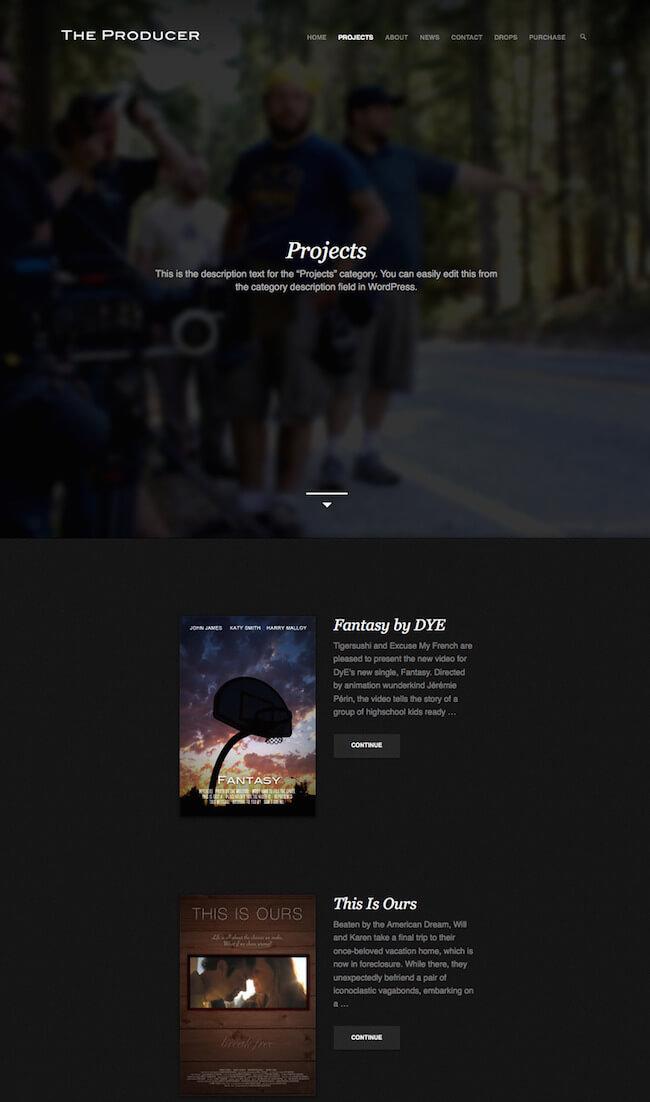 The Producer Video Wordpress theme