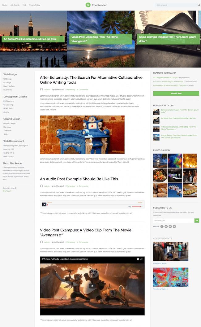 The Reader WordPress Minimal Blog Theme