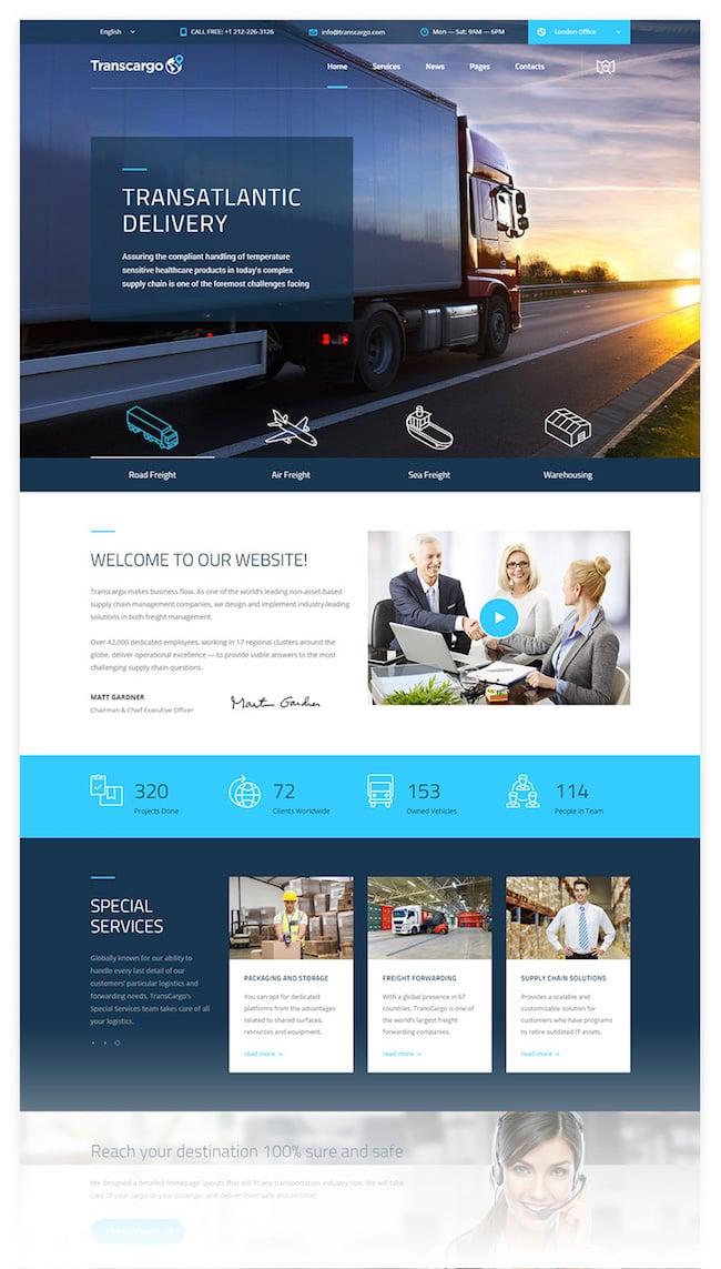 Transcargo Logistics & Transportation WP Theme