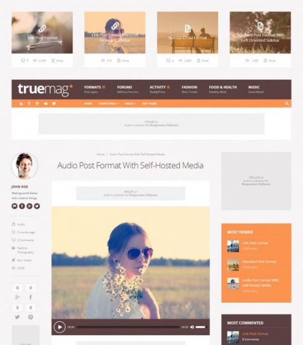 Truemag wordpress theme demo with advertising space