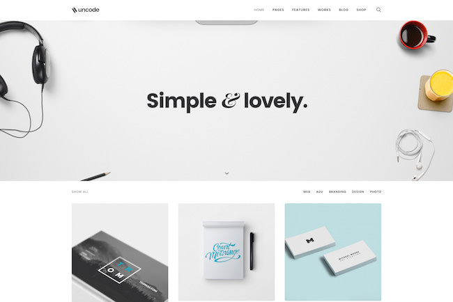 Uncode minimal Wordpress theme