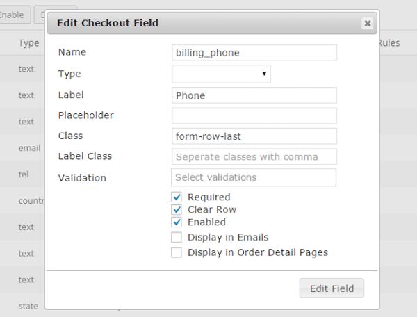 WP Checkout Fields Ecommerce WordPress plugin Editor Form